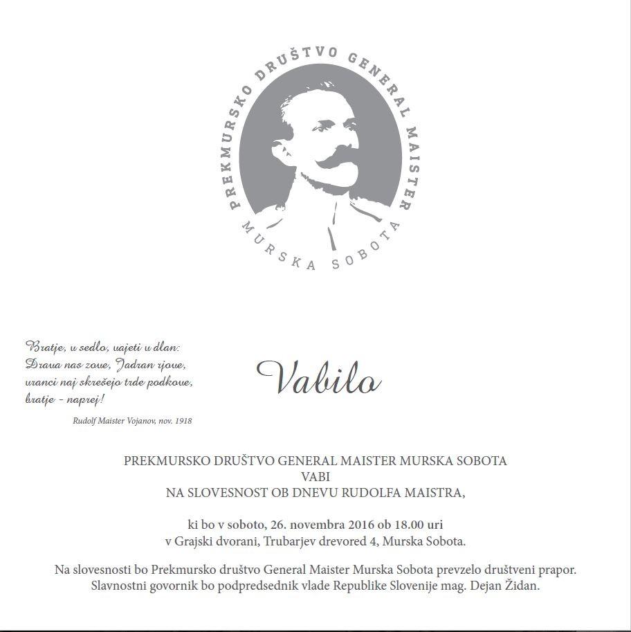 Dan Rudolfa Maistra - VABILO